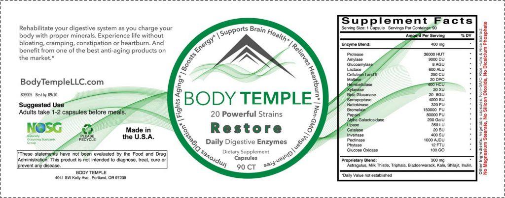 Restore label ingredients